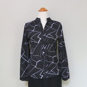 80s Secretary Blouse Black & White Abstract Print